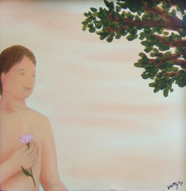 man with pink flower 15x15 oil on canvas 2001