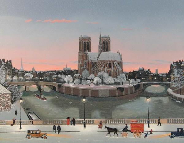 Le Chevet de Nortre-Dame en Hiver 노트르담대성당의 겨울_72x59.5_Serigraph on paper-canvas