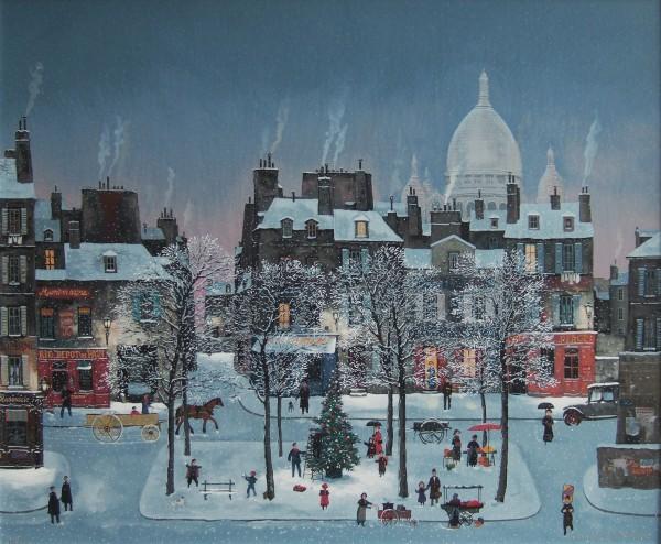 Noël a Montmartre 몽마르뜨의 성탄절_73.5x60cm_serigraph on canvas