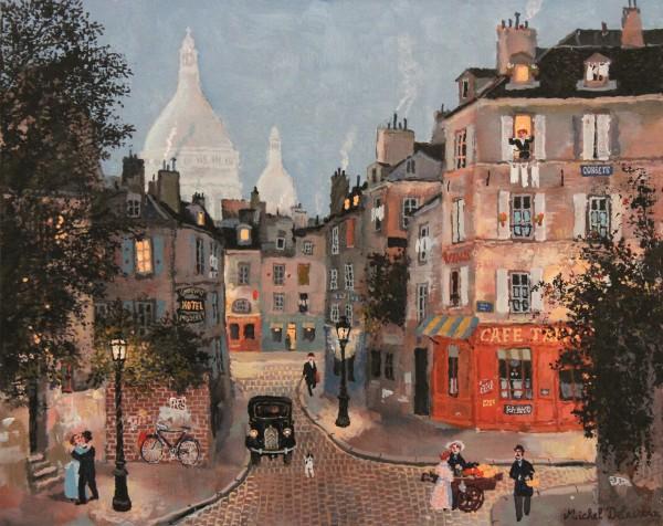 Rue Sainte-Rustique, le soir 30x37cm