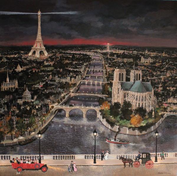 Paris, à vol d'oiseau 71x71cm