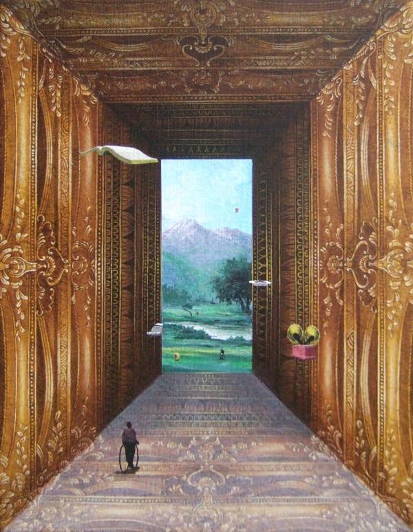 유선태-말과 글 '그림속의 그림' 31.8x40.9cm Acrylic on canvas