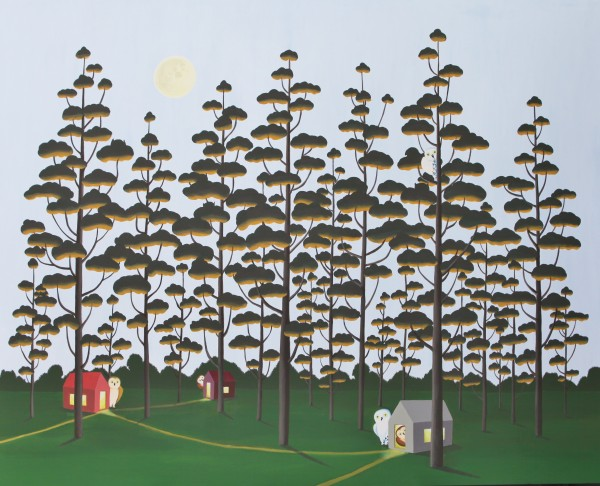 The Moon and The Forest, 160x132cm, acrylic, 2015