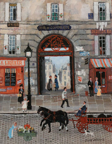 Michel Delacroix_ Cour du Commerce Saint-André 13.75_x10.5_Acrylic on board
