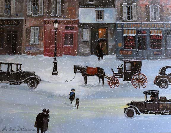 Michel Delacroix_Nuit d hiver rue Bobillot_Acrylic on Board_105.x14cm