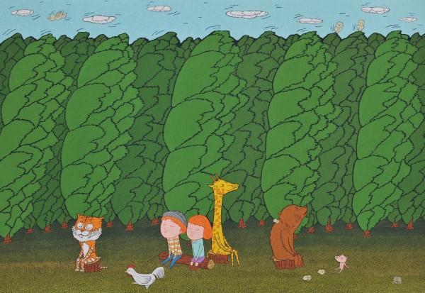 숲속에서..162.2x112.1cm 장지 위에 돌가루와 분채 2018