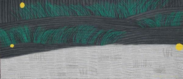 언덕길 가을 65x130cm, 캔버스에 한지 흙과 채색, 2018
