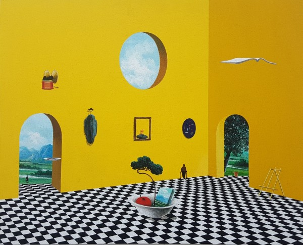 말과글(나의 정원), 캔버스위에 아크릴, 65.1x53cm 2018