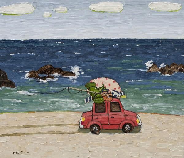 해변을 달리다 45.5x53cm oil on canvas 2019