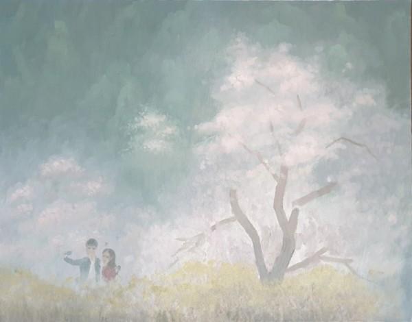 김동철, 벚꽃 - 개나리, Oil on Canvas, 53x45cm, 2020
