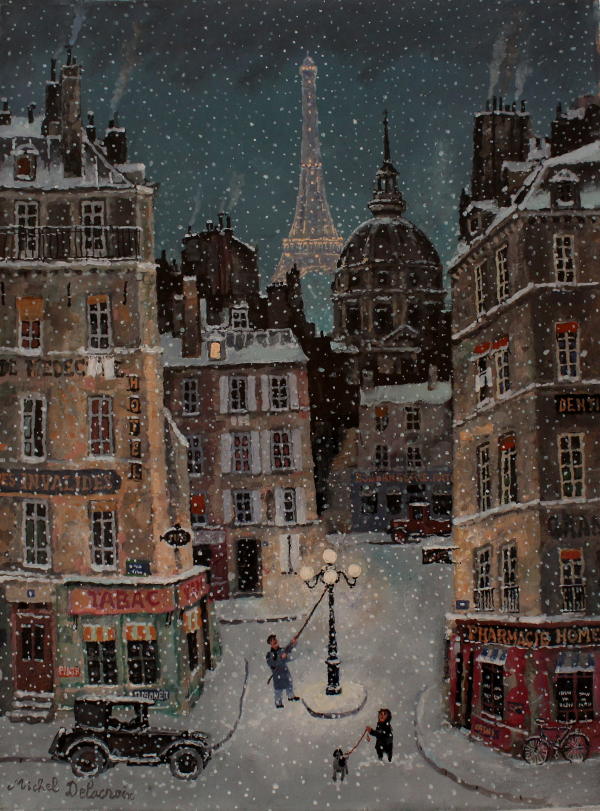 Neige dans le quartier des Invalides Acrylic on canvas
