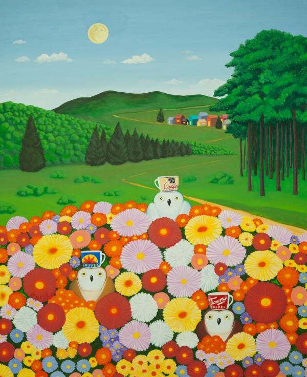 2.안윤모_Flower and owl_ 130x162 cm, acrylic, 2018