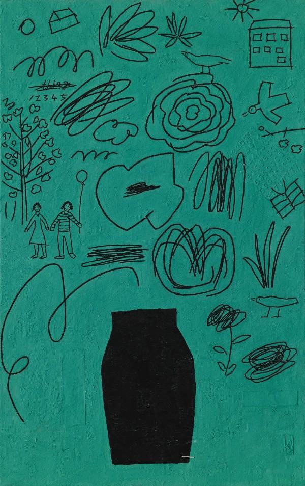 3.유미선_나의 정원_32x51cm_장지 위에 석채와 은박_2020